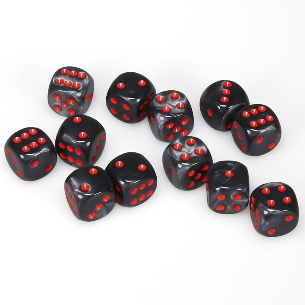 Chessex 16mm Dice Block: Velvet Black w/ Red (12)