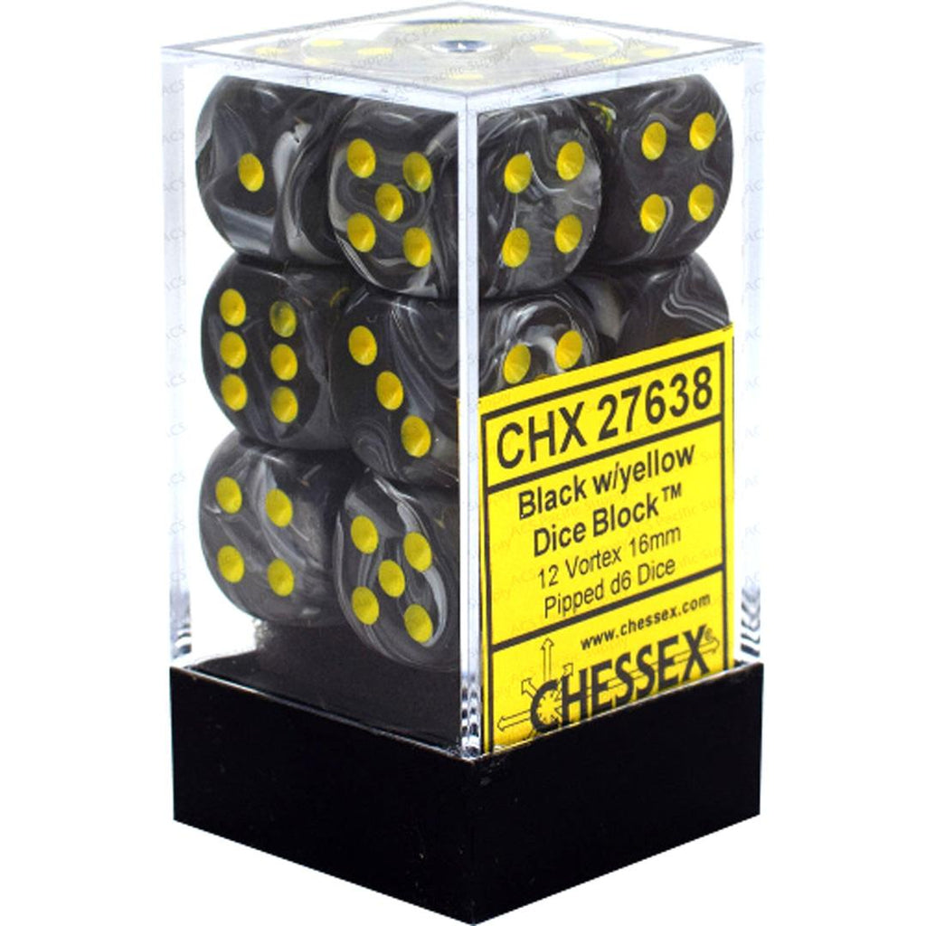 Chessex 16mm Dice Block: Vortex Black w/ Yellow (12)