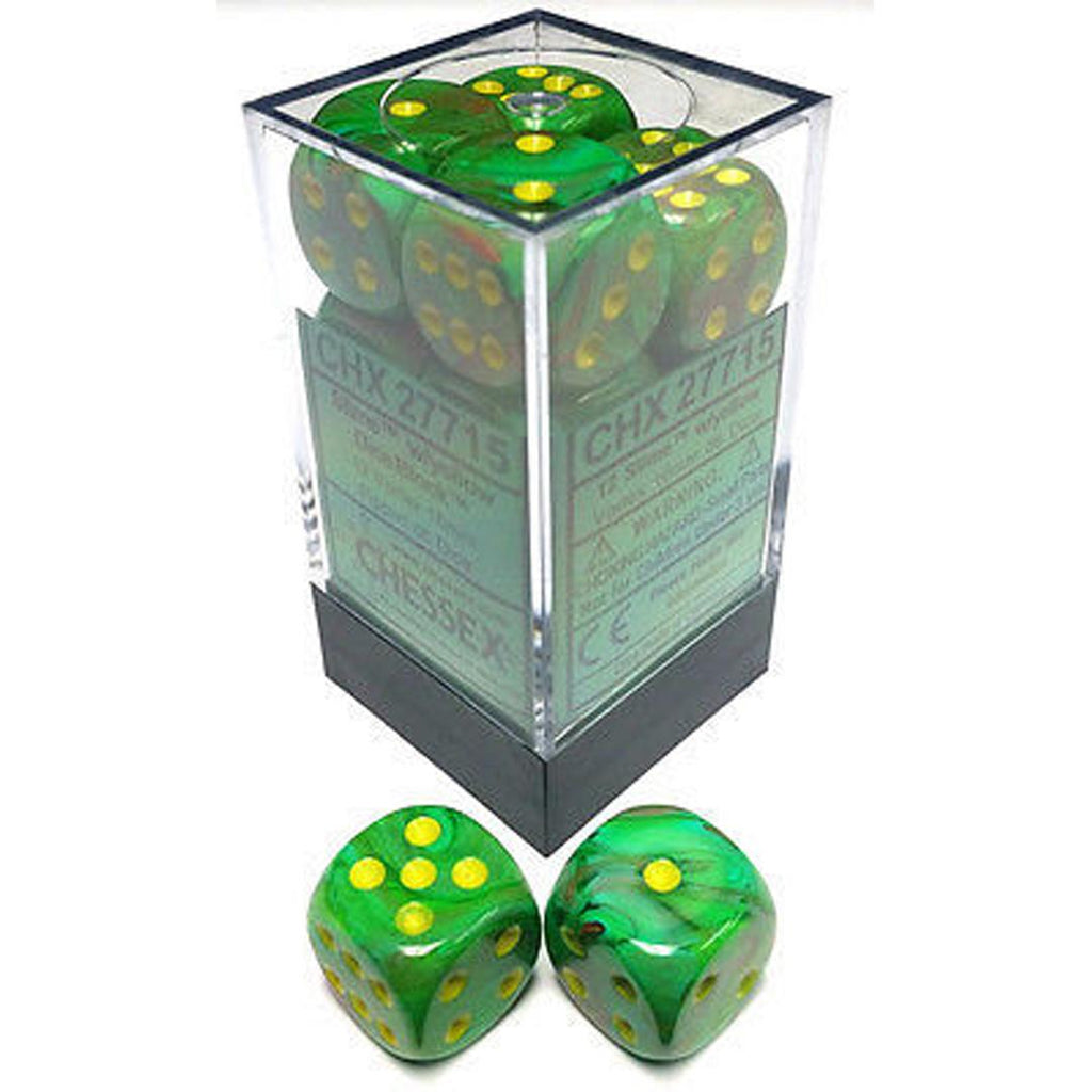Chessex 16mm Dice Block: Vortex Slime w/ Yellow (12)
