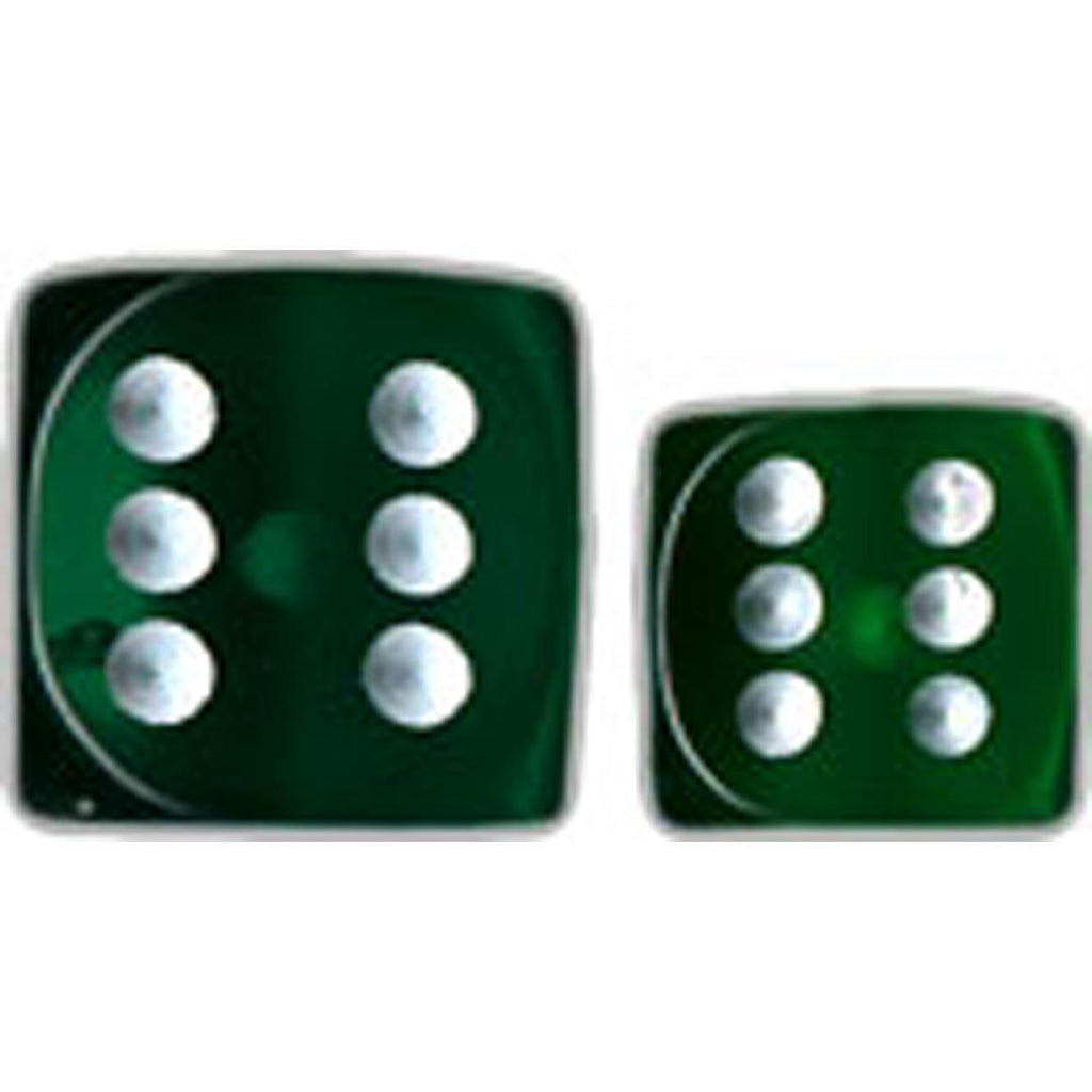 Chessex 16mm d6 Dice Set: Green w/White (12)