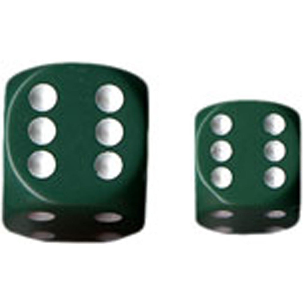 Chessex 16mm d6 Dice Set: Green w/ Black (12)