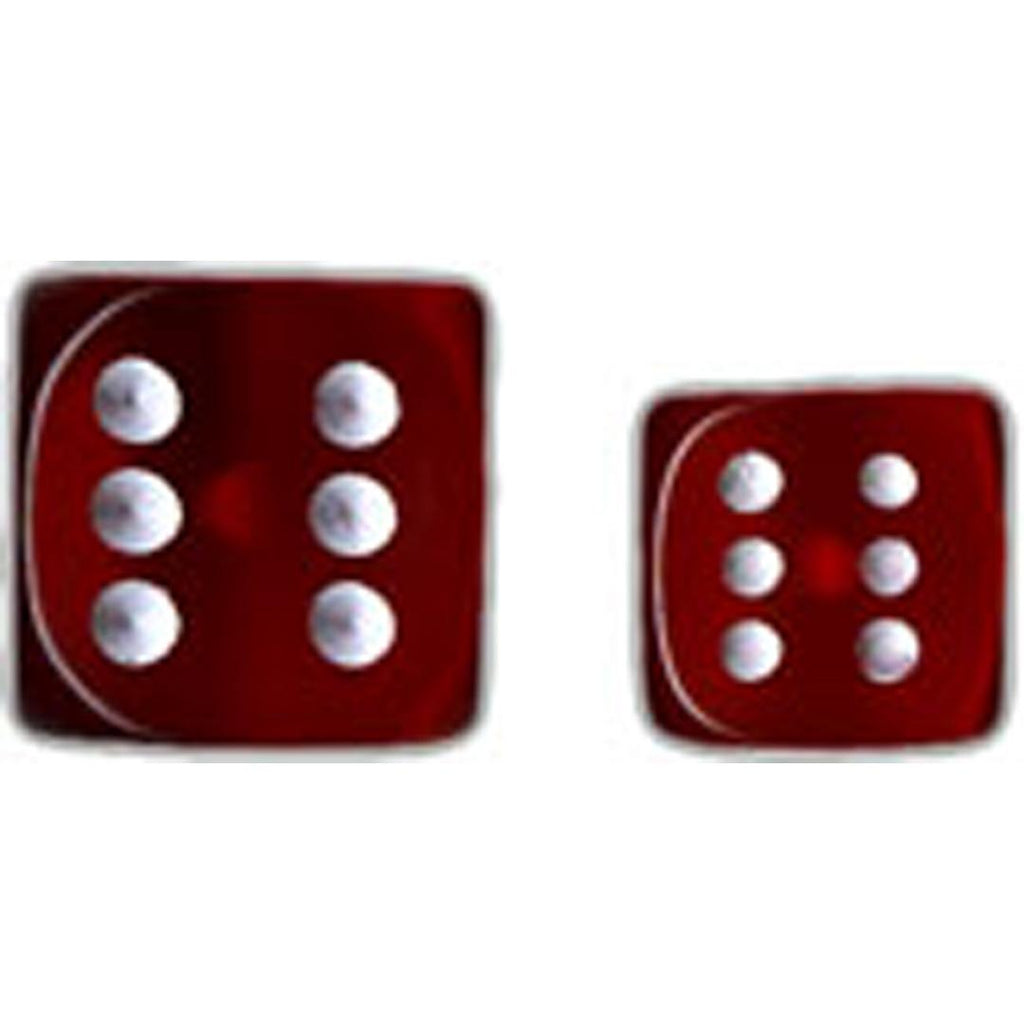 Chessex 16mm d6 Dice Set: Red w/White (12)