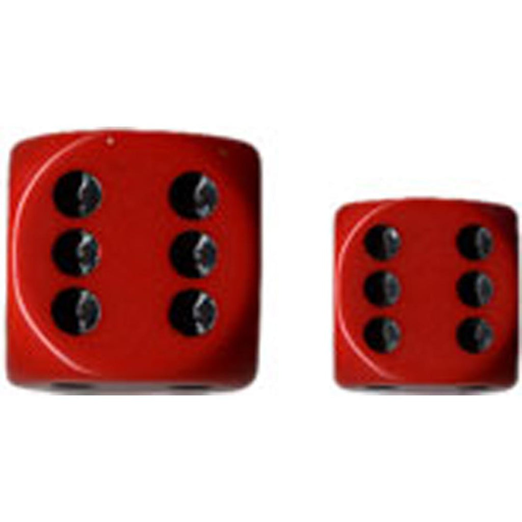 Chessex 16mm d6 Dice Set: Red w/ Black (12)