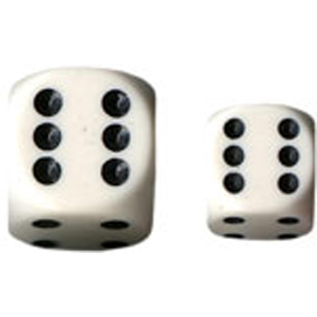 Chessex 16mm d6 Dice Set: White w/Black (12)