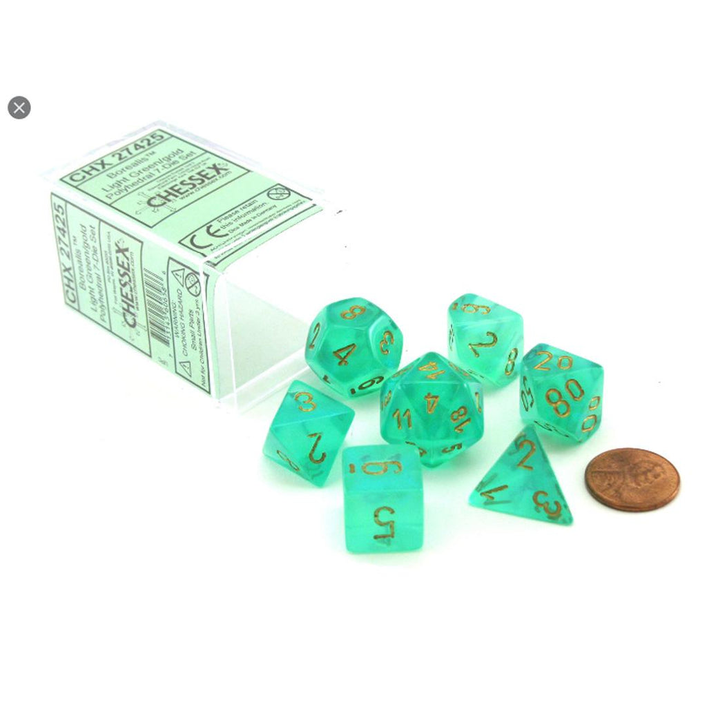 Chessex Polyhedral Dice Set: Borealis Light Green w/ Gold (7)