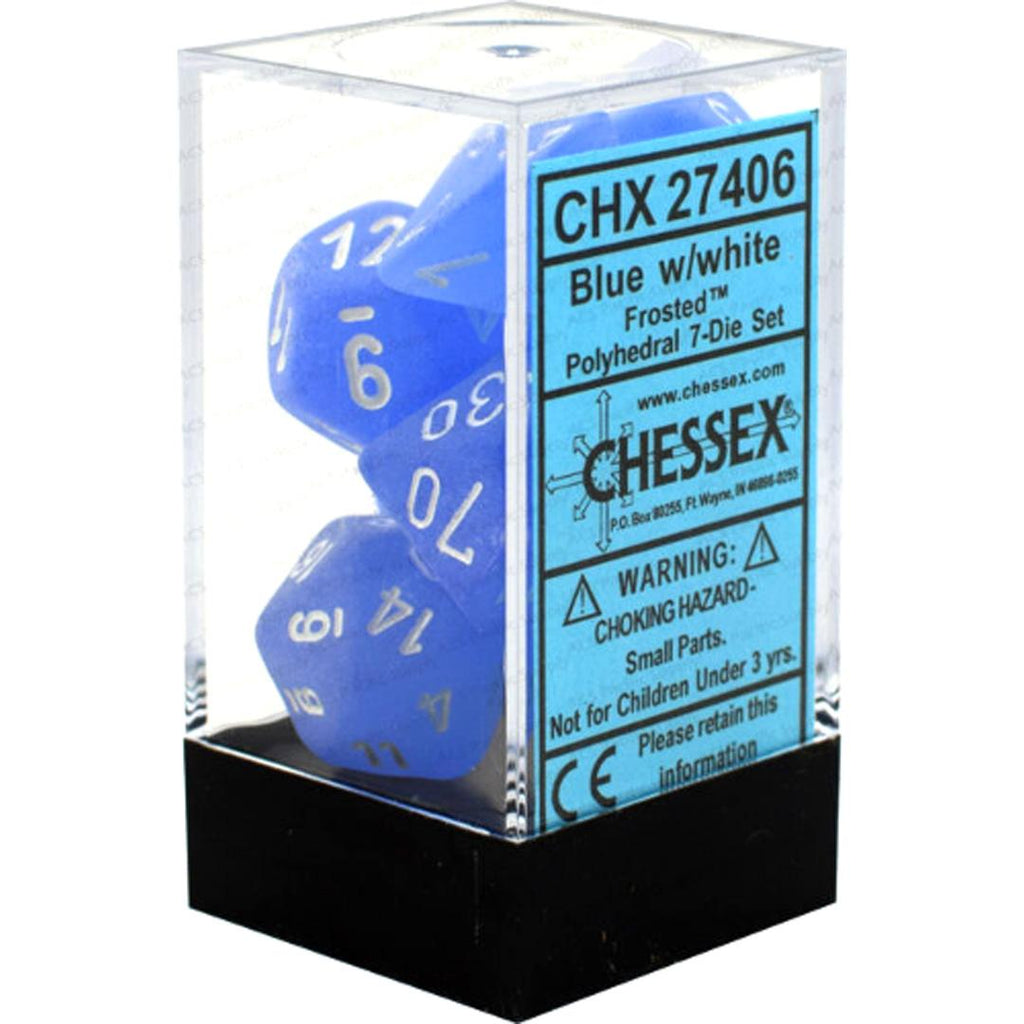 Chessex Polyhedral Dice Set: Frosted Blue w/ White (7)