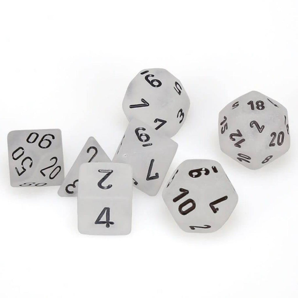 Chessex Polyhedral Dice Set: Frosted Clear w/ Black (7)