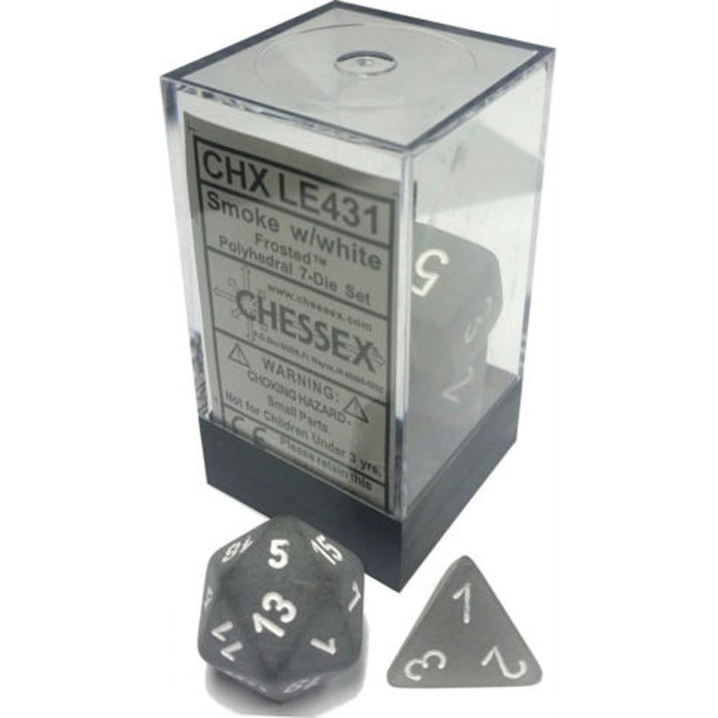 Chessex Polyhedral Dice Set: Frosted Smoke w/ White (7)