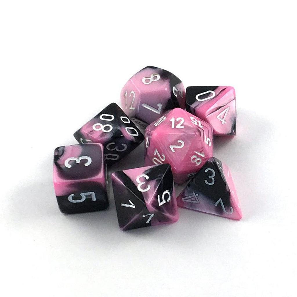 Chessex Polyhedral Dice Set: Gemini Black-Pink w/ White (7)