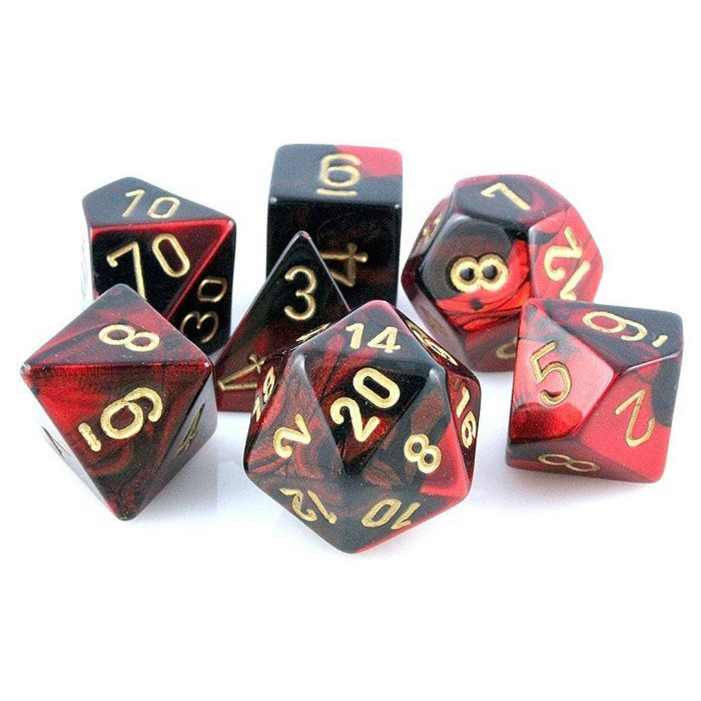 Chessex Polyhedral Dice Set: Gemini Black-Red w/ Gold (7)