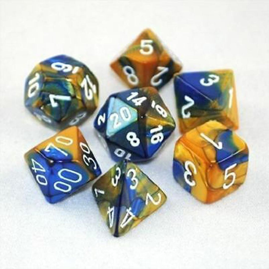 Chessex Polyhedral Dice Set: Gemini Blue-Gold w/ White (7)