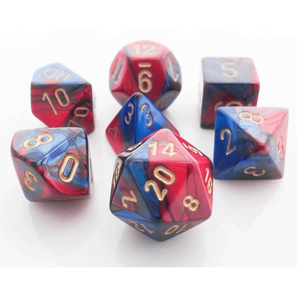 Chessex Polyhedral Dice Set: Gemini Blue-Red w/ Gold (7)