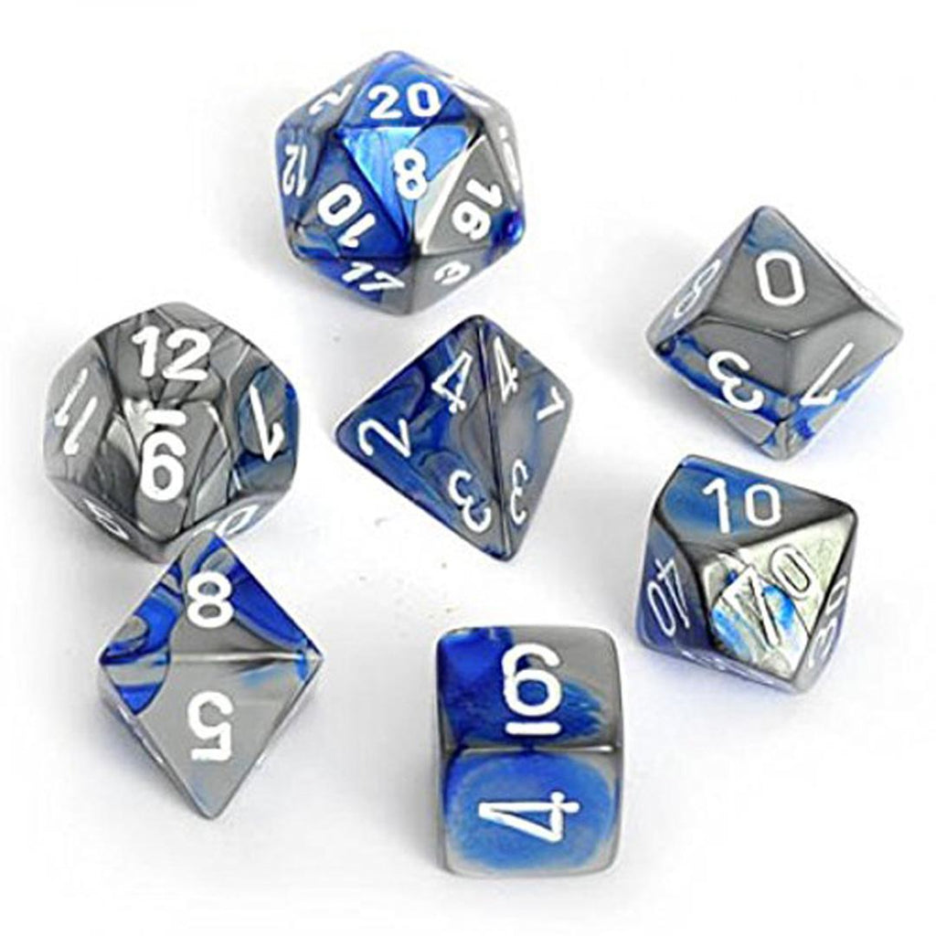 Chessex Polyhedral Dice Set: Gemini Blue-Steel w/ White (7)