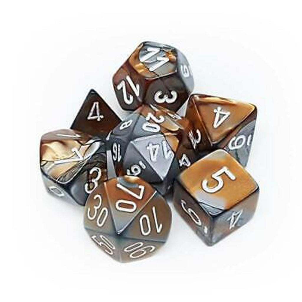 Chessex Polyhedral Dice Set: Gemini Copper-Steel w/ White (7)