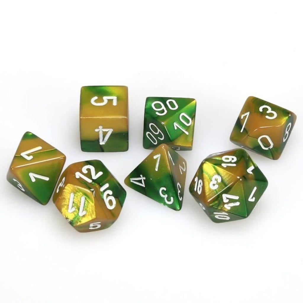 Chessex Polyhedral Dice Set: Gemini Gold-Green w/ White (7)