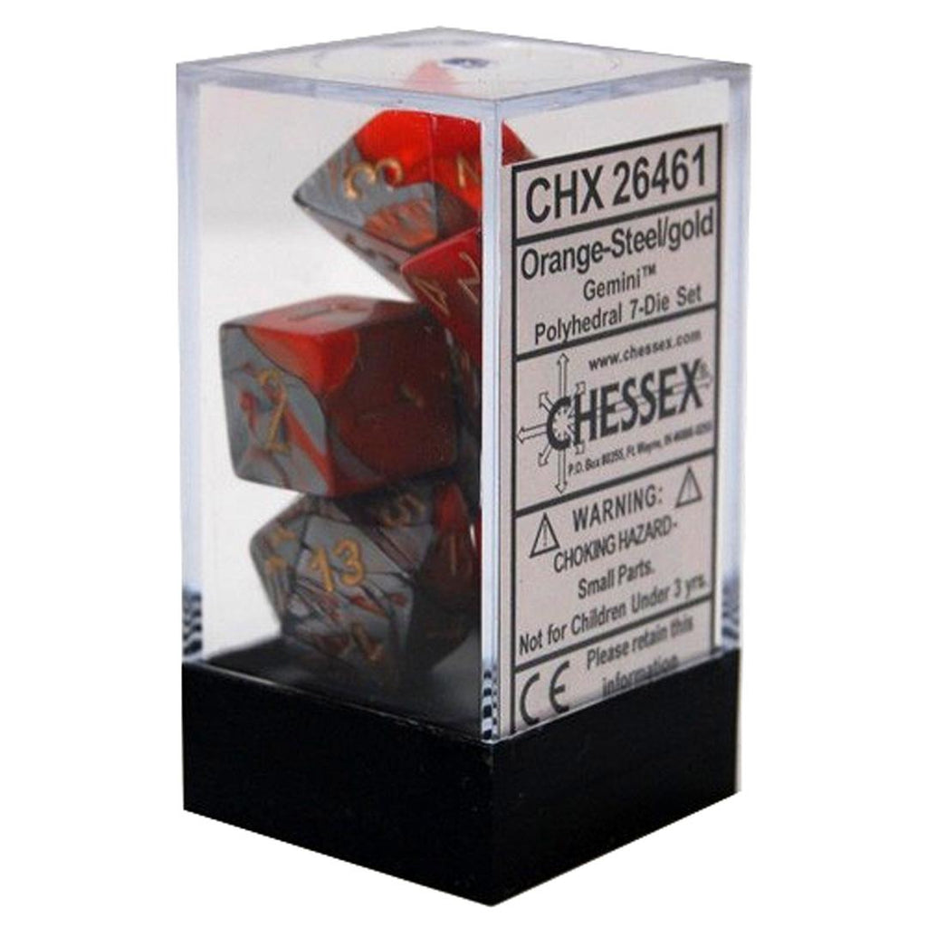 Chessex Polyhedral Dice Set: Gemini Orange-Steel w/ Gold (7)
