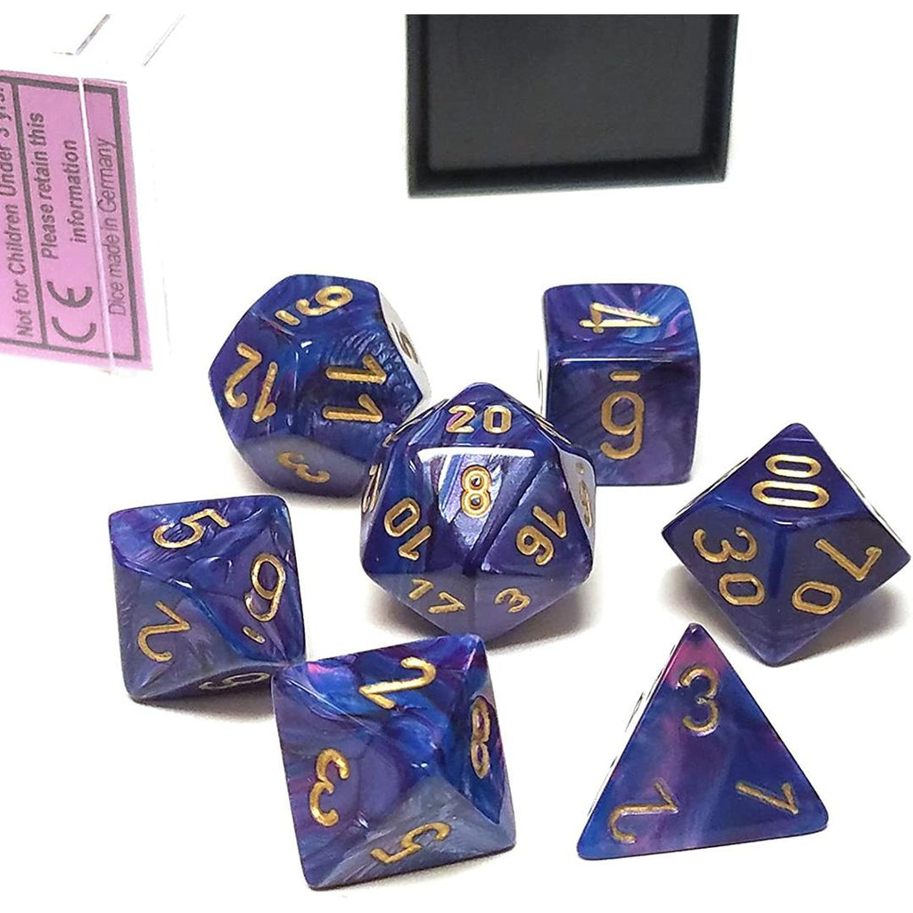 Chessex Polyhedral Dice Set: Lustrous Purple w/ Gold (7)