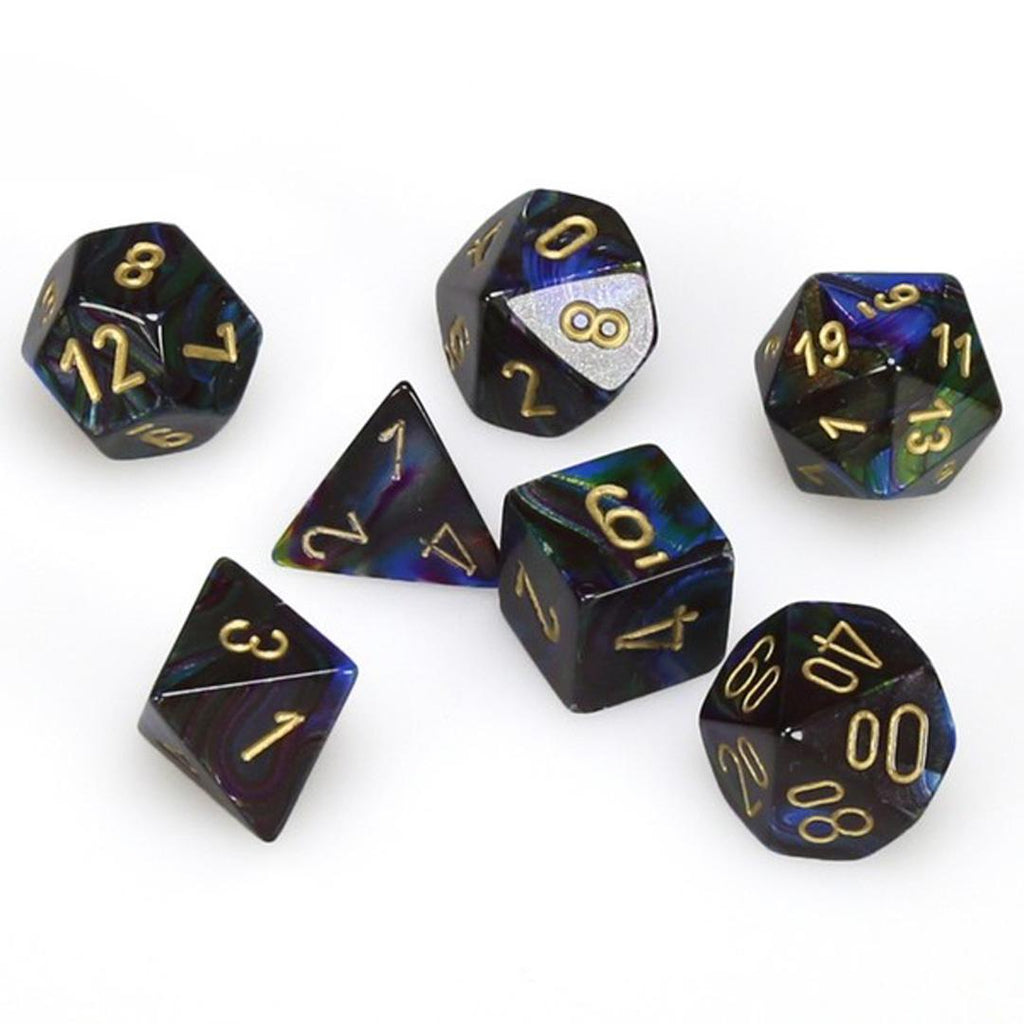 Chessex Polyhedral Dice Set: Lustrous Shadow w/ Gold (7)