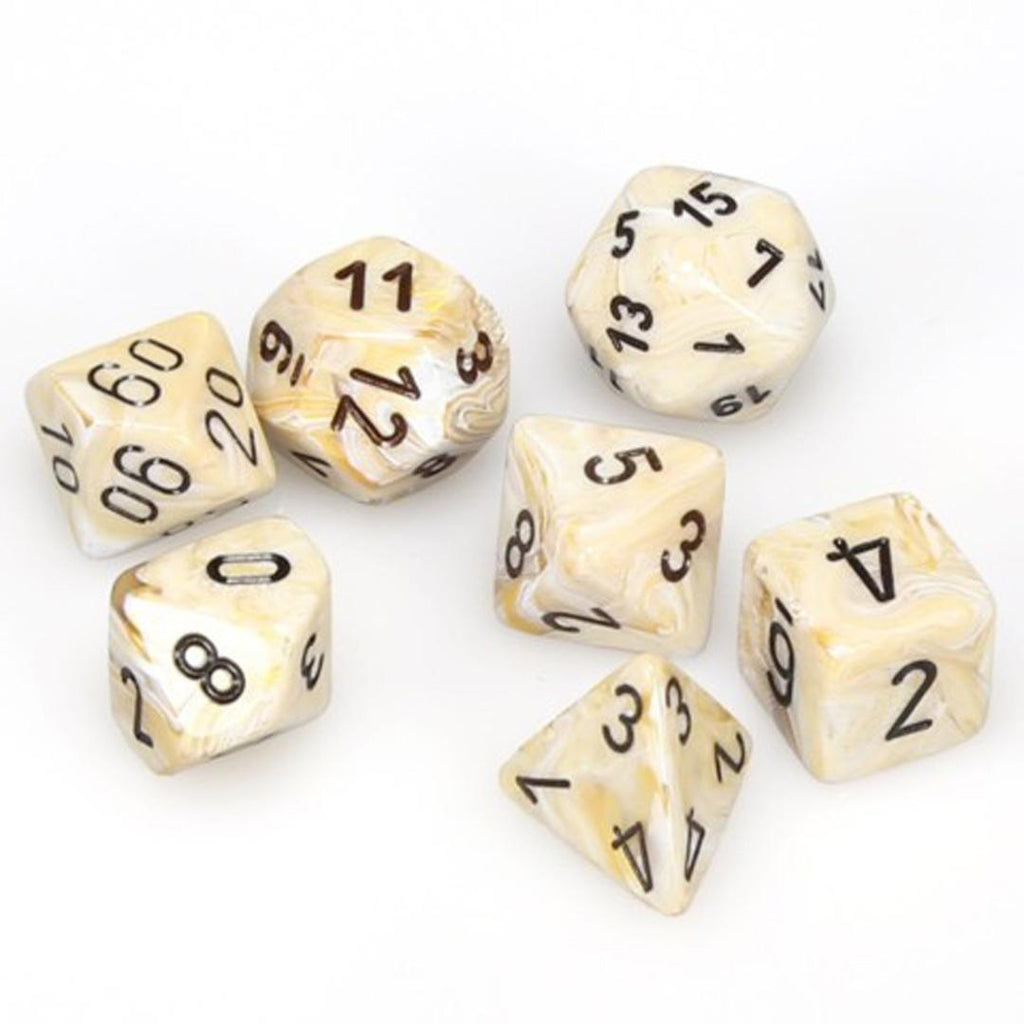 Chessex Polyhedral Dice Set: Marble Ivory w/ Black (7)