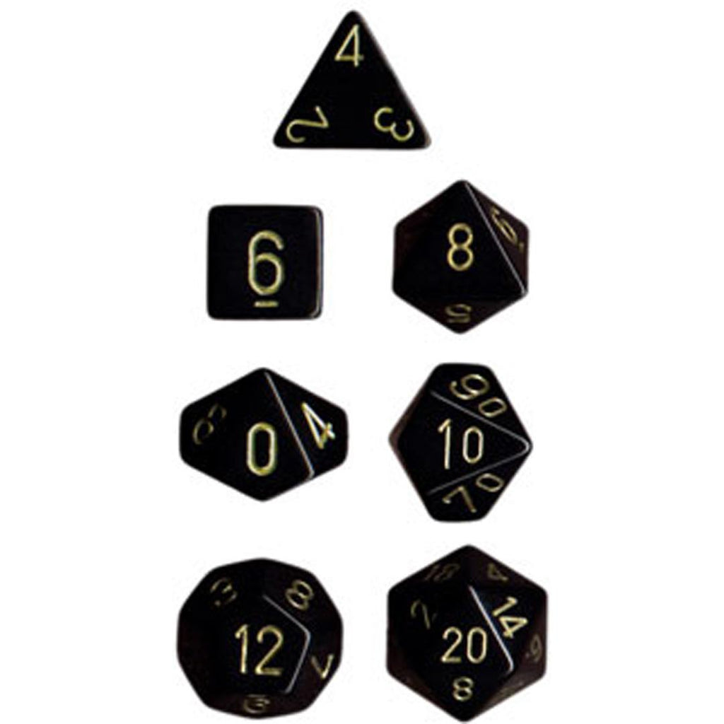 Chessex Polyhedral Dice Set: Opaque Black/Gold (7)