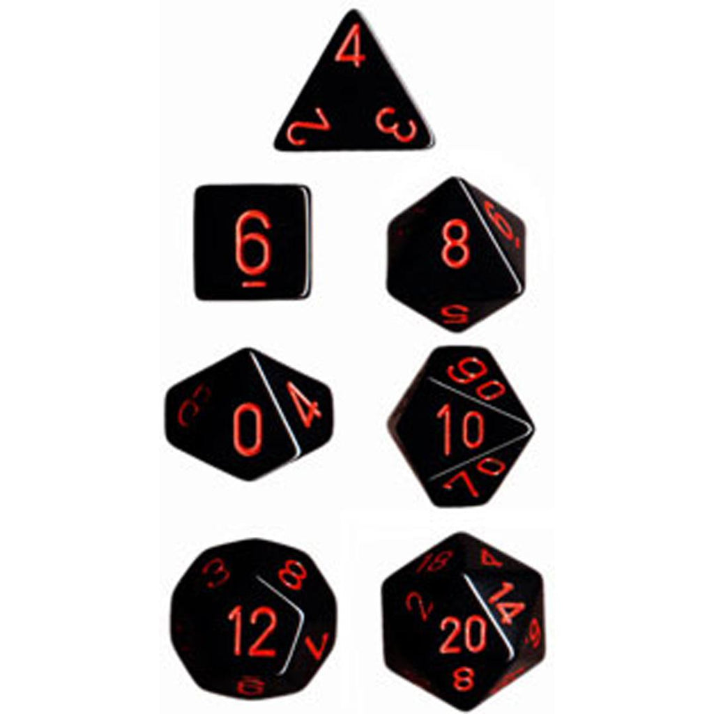 Chessex Polyhedral Dice Set: Opaque Black/Red (7)