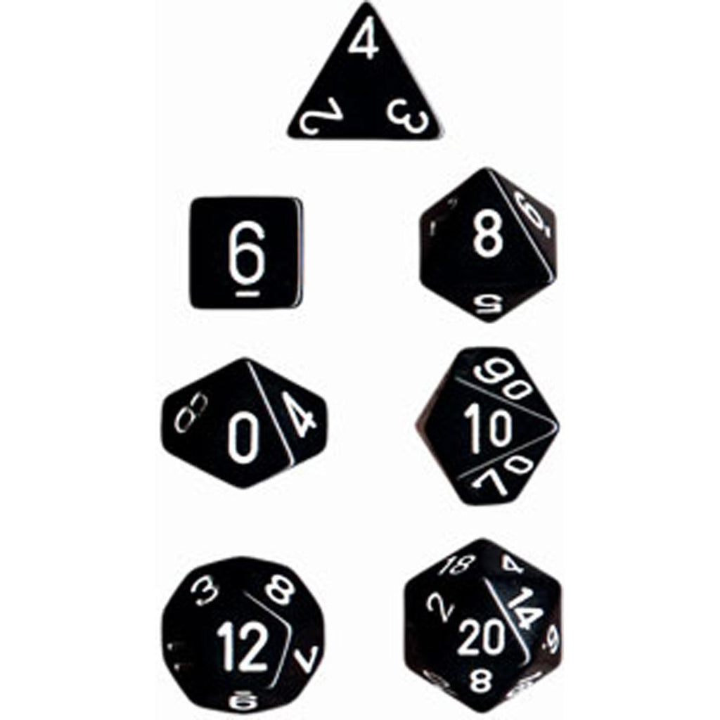 Chessex Polyhedral Dice Set: Opaque Black/White (7)