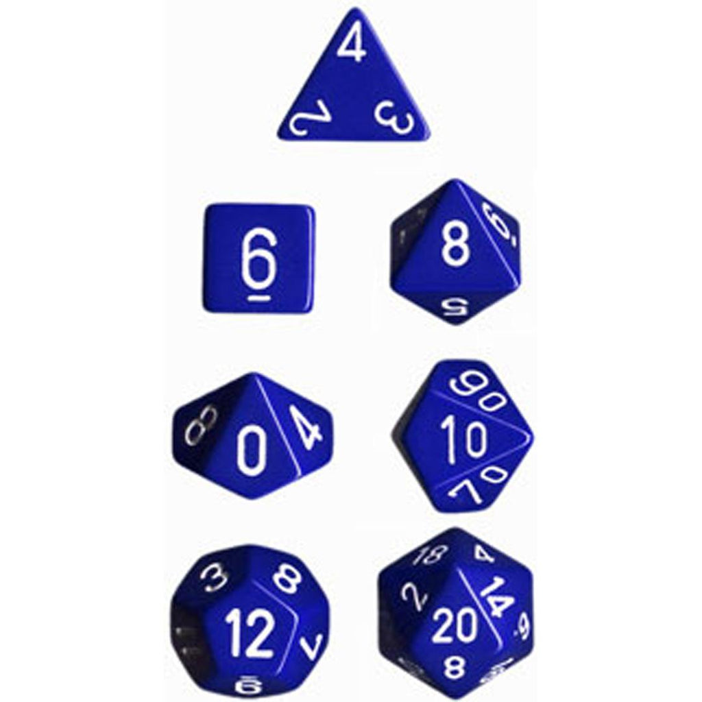 Chessex Polyhedral Dice Set: Opaque Blue/White (7)