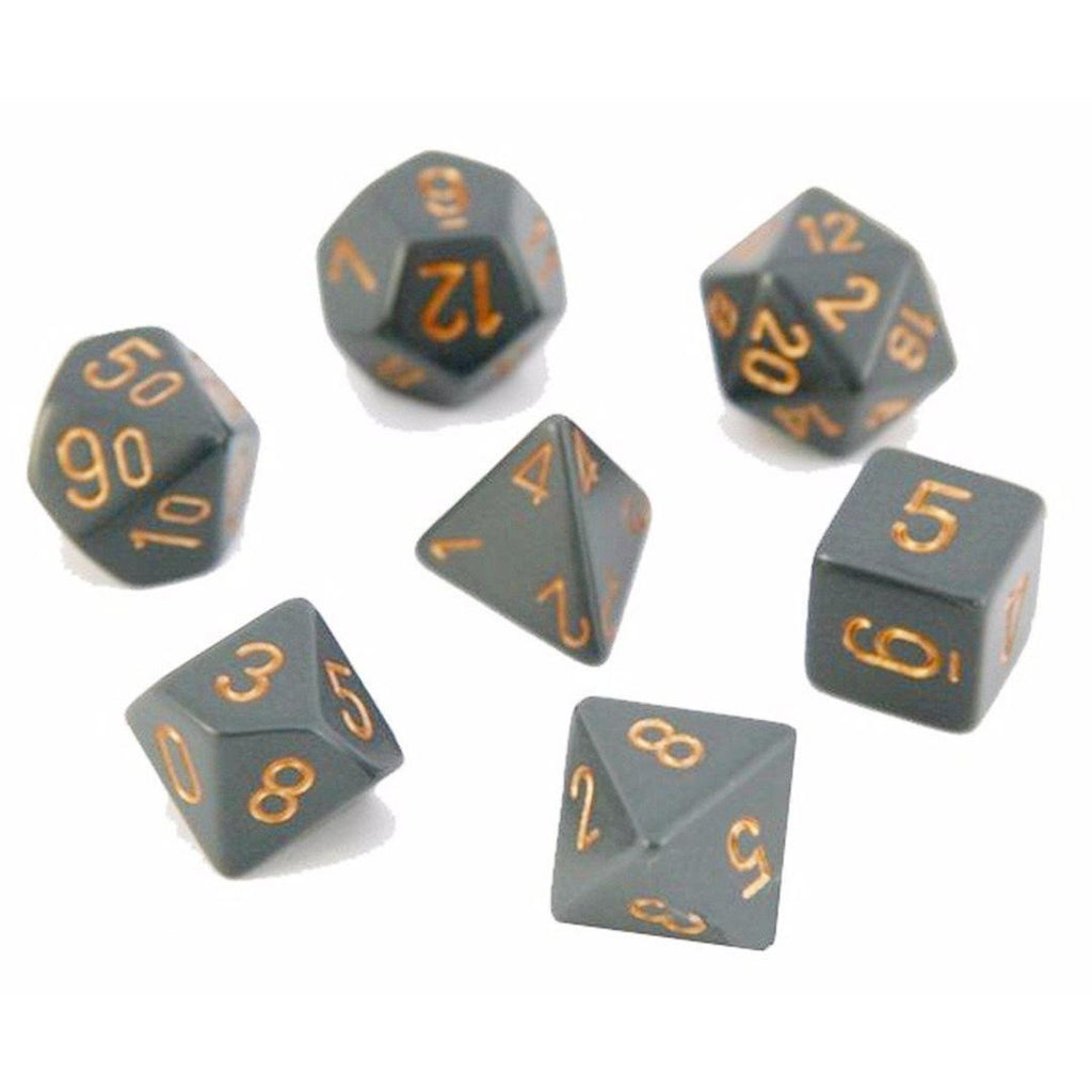 Chessex Polyhedral Dice Set: Opaque Dark Grey/Copper (7)