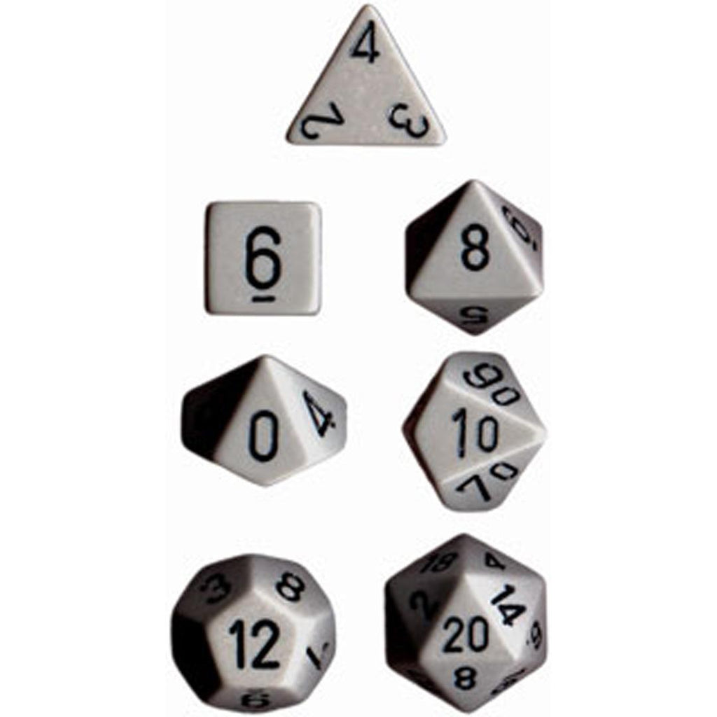 Chessex Polyhedral Dice Set: Opaque Grey/Black (7)