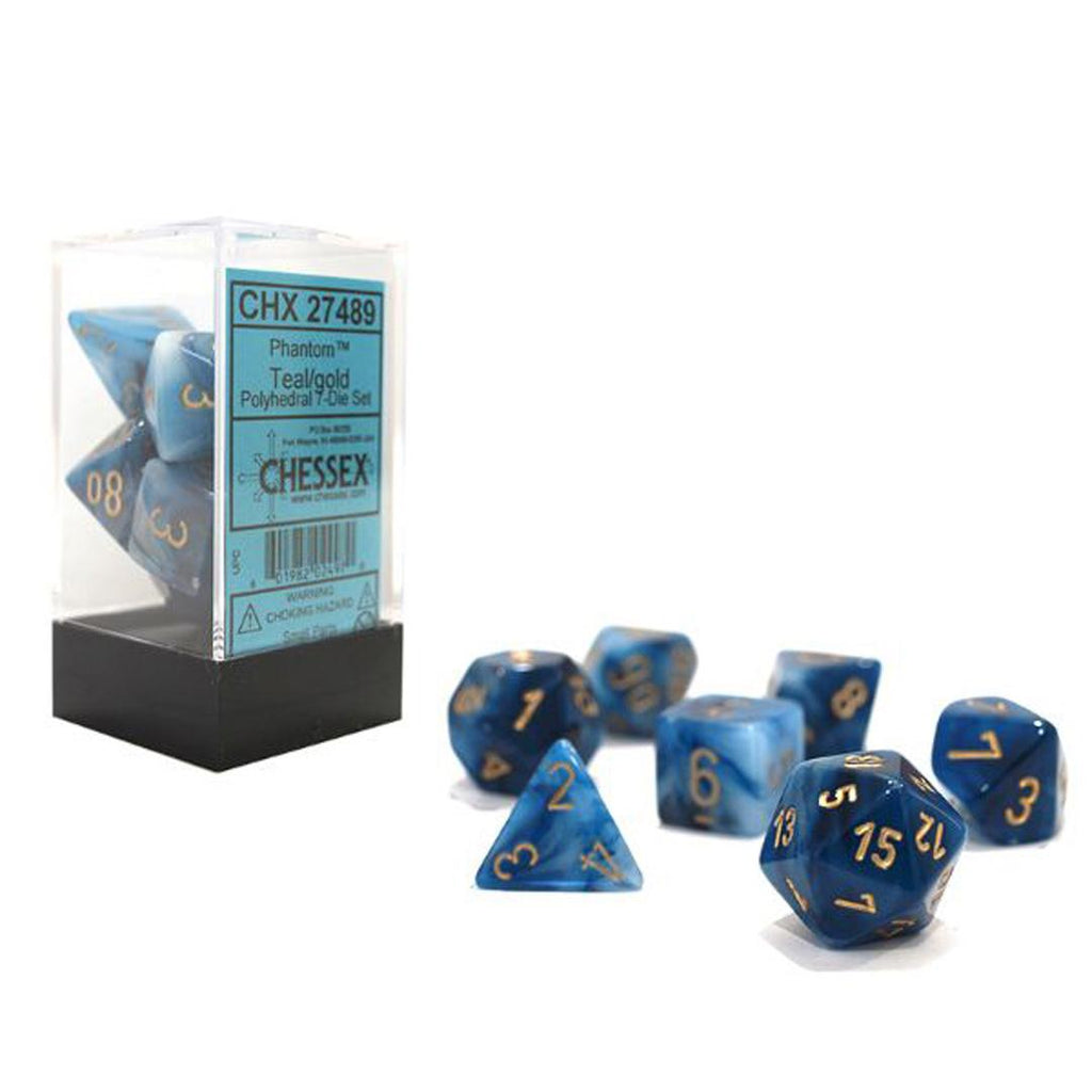 Chessex Polyhedral Dice Set: Phantom Teal w/ Gold (7)
