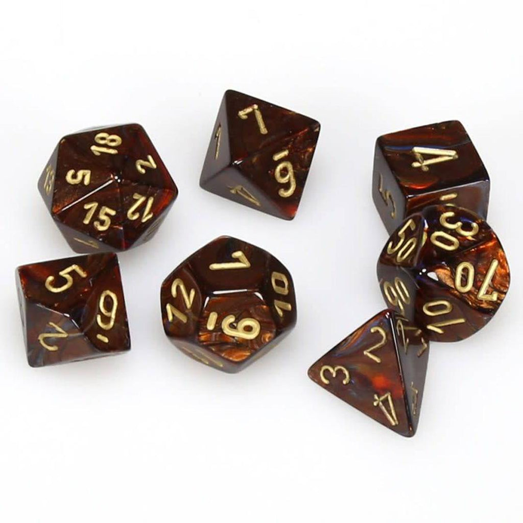 Chessex Polyhedral Dice Set: Scarab Blue Blood w/ Gold (7)