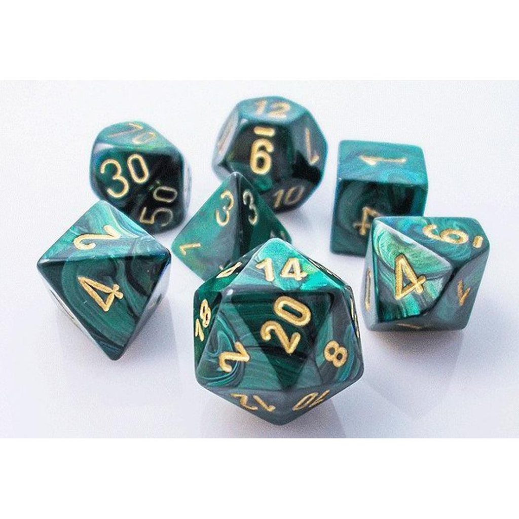 Chessex Polyhedral Dice Set: Scarab Jade w/ Gold (7)