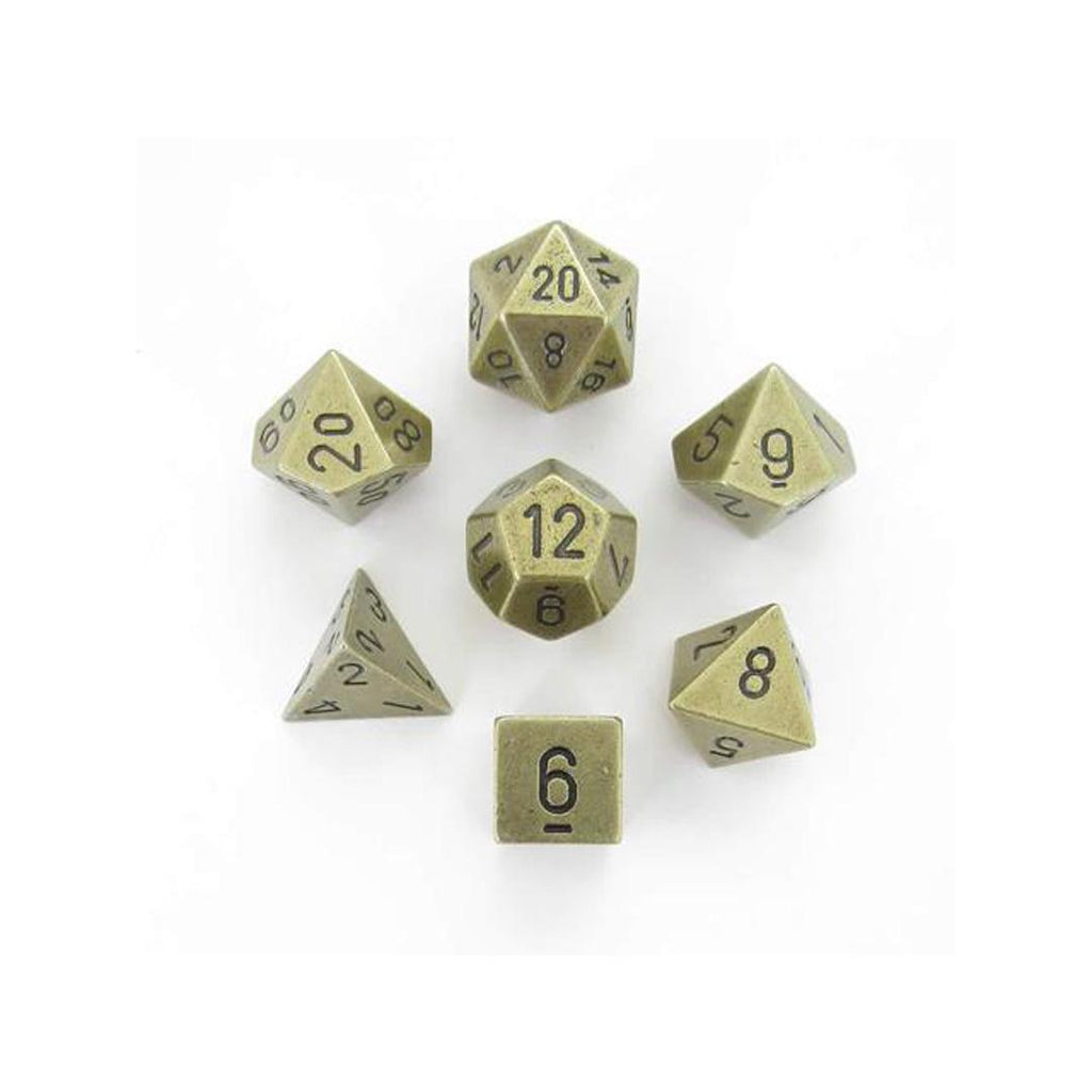 Chessex Polyhedral Dice Set: Solid Metal Old Brass (7)