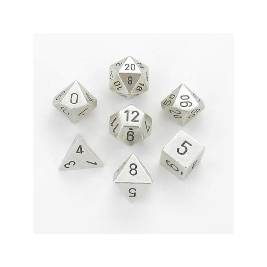 Chessex Polyhedral Dice Set: Solid Metal Silver (7)