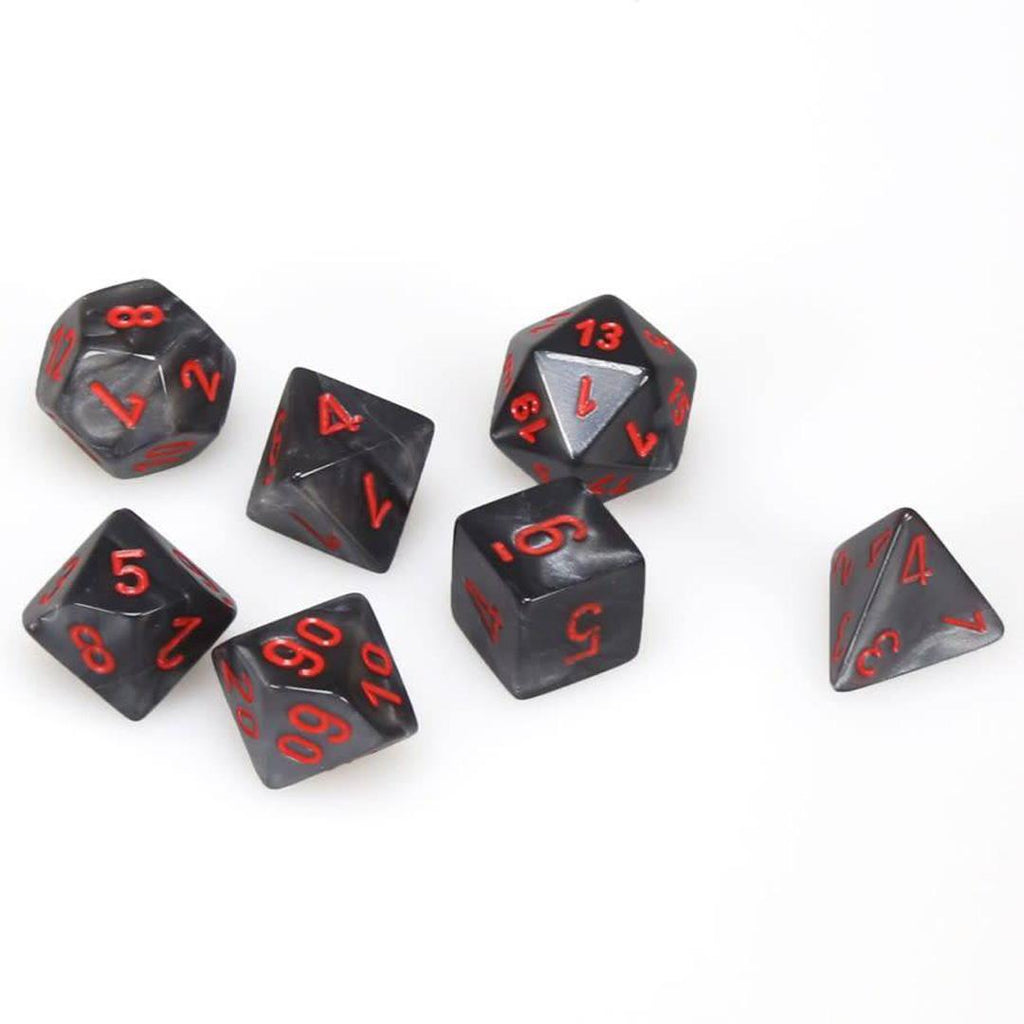 Chessex Polyhedral Dice Set: Velvet Black w/ Red (7)