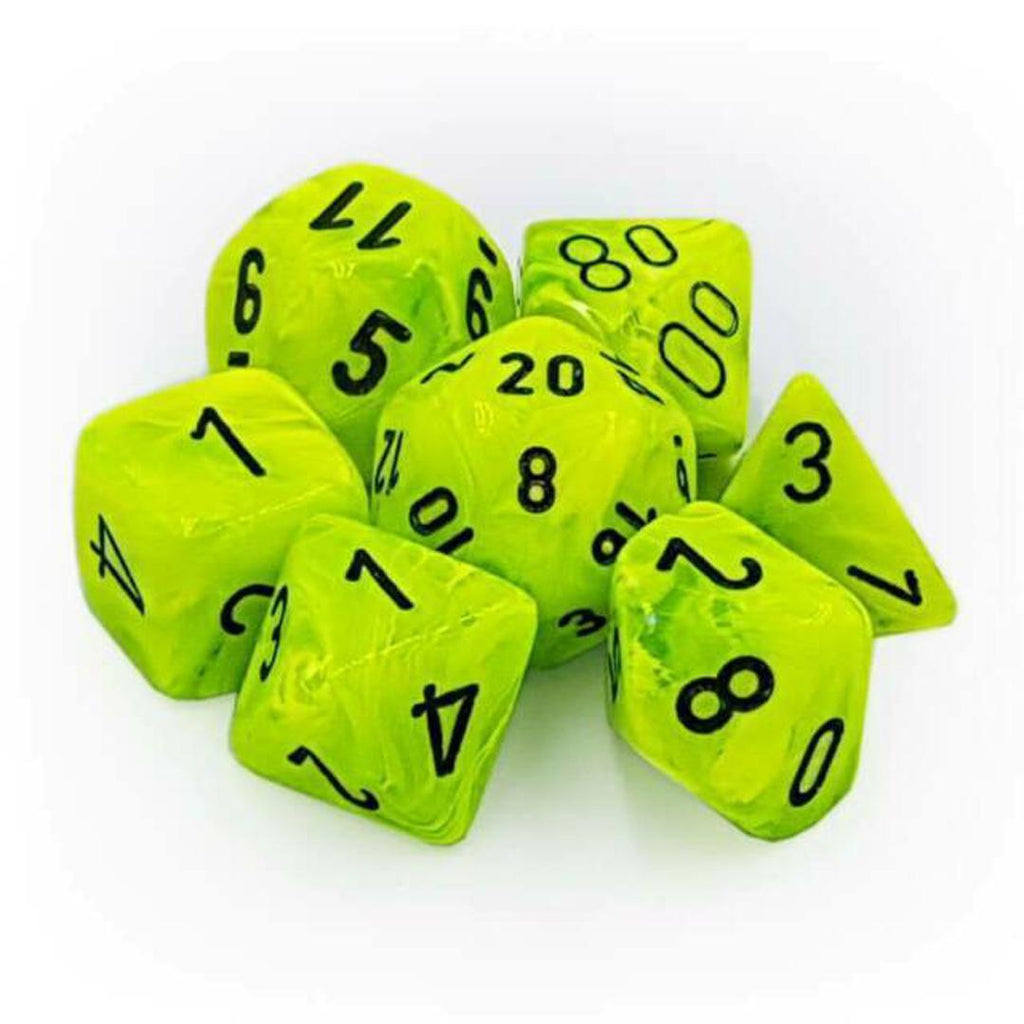 Chessex Polyhedral Dice Set: Vortex Bright Green w/ Black (7)
