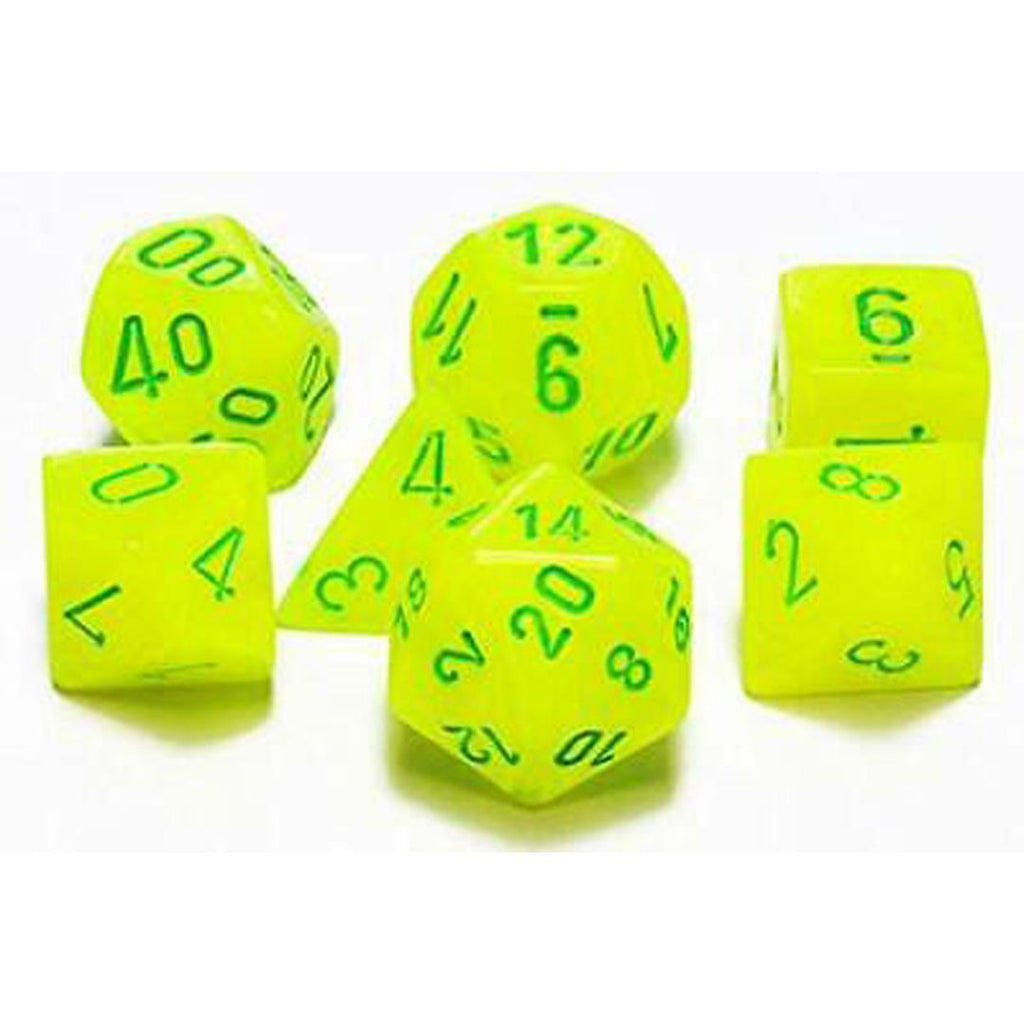 Chessex Polyhedral Dice Set: Vortex Electric Yellow w/ Green (7)