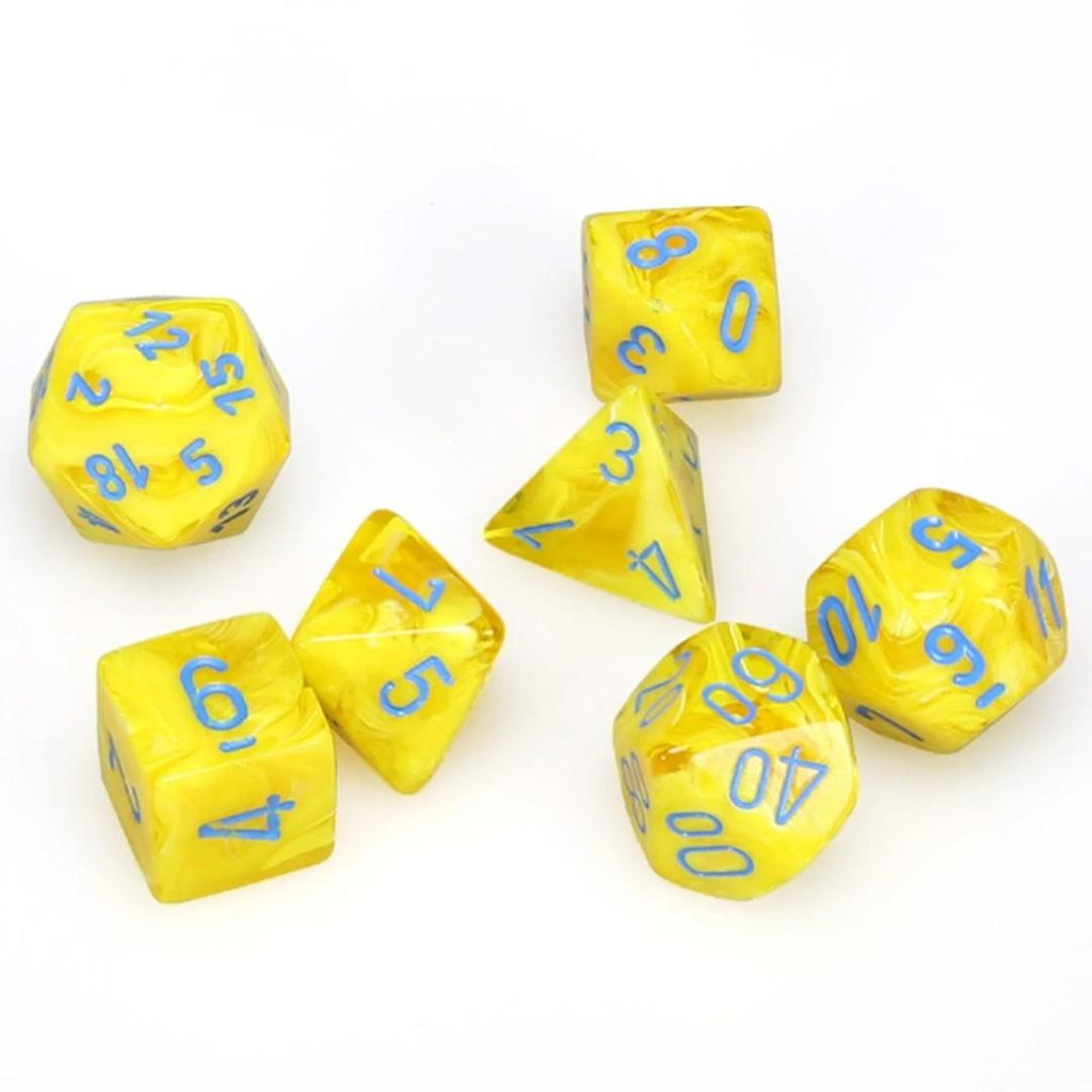 Chessex Polyhedral Dice Set: Vortex Yellow w/ Blue (7)