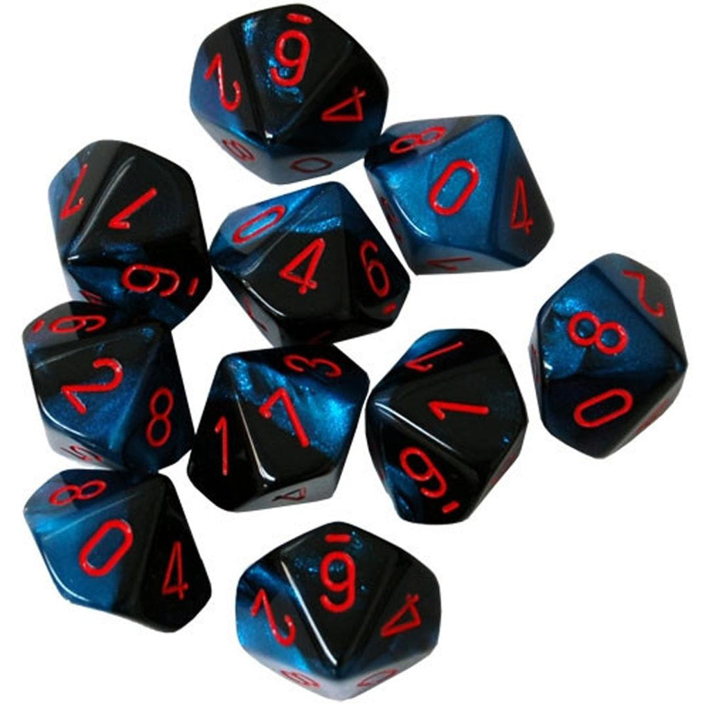 Chessex d10 Dice Set: Black-Starlight w/ Red (10)
