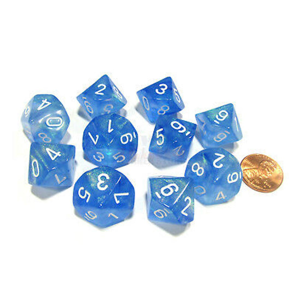 Chessex d10 Dice Set: Borealis Sky Blue w/ White (10)