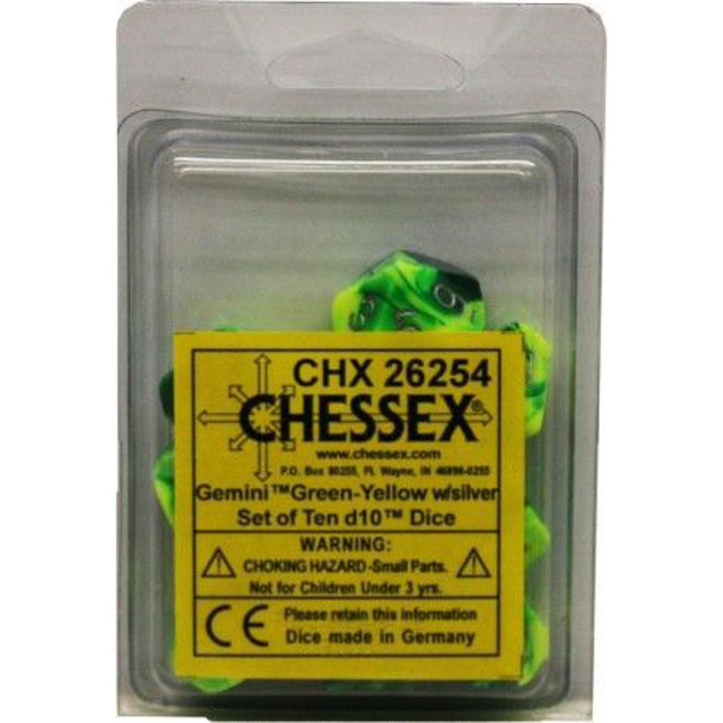 Chessex d10 Dice Set: Gemini Green-Yellow w/ Silver (10)