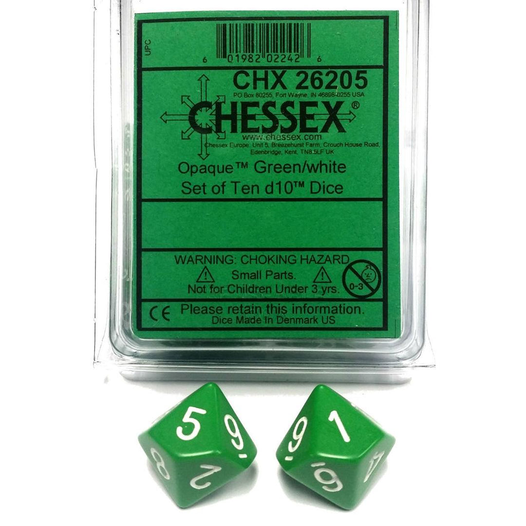 Chessex d10 Dice Set: Opaque Green w/ White (10)