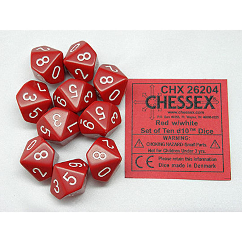 Chessex d10 Dice Set: Opaque Red w/ White (10)