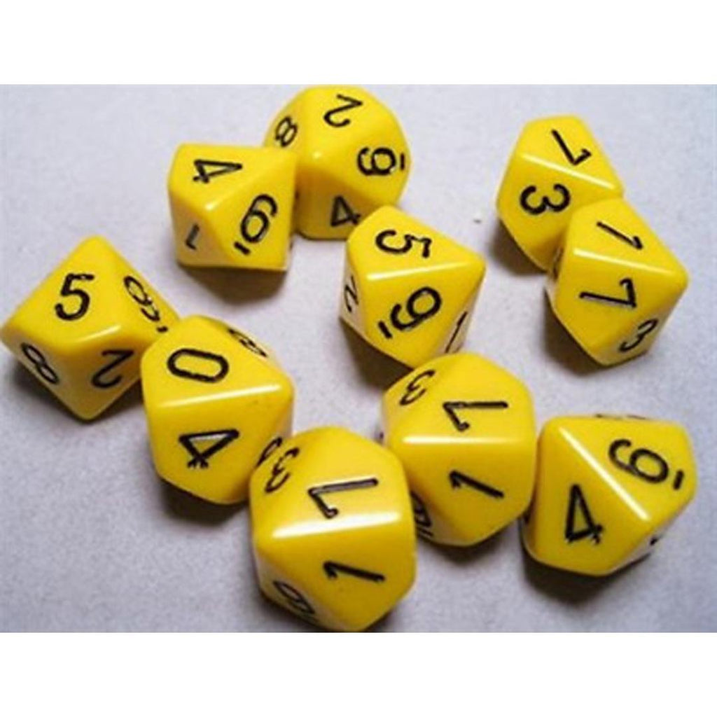 Chessex d10 Dice Set: Opaque Yellow w/ Black (10)