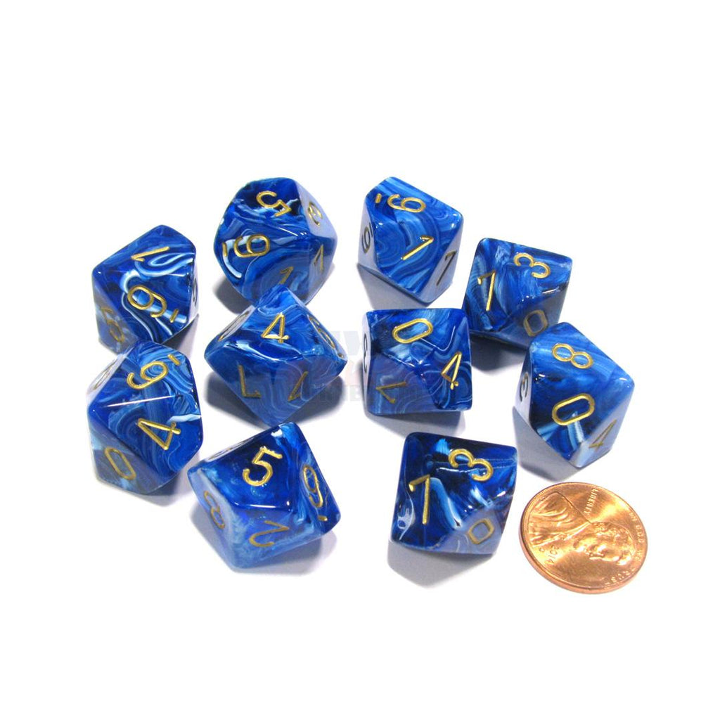 Chessex d10 Dice Set: Vortex Blue w/ Gold (10)