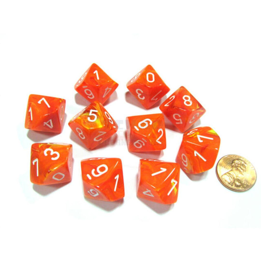 Chessex d10 Dice Set: Vortex Solar w/ White (10)