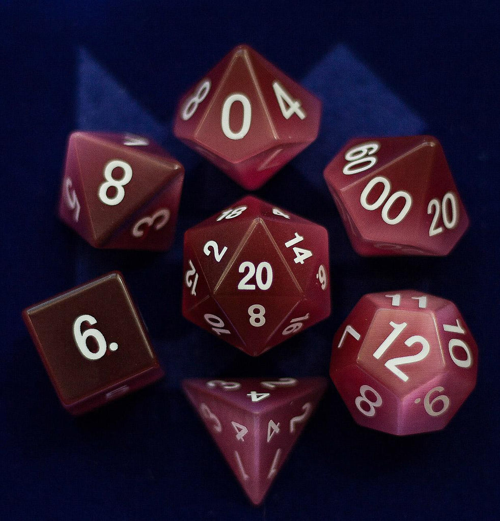 Gemstone Dice Set : Cat's Eye Pink