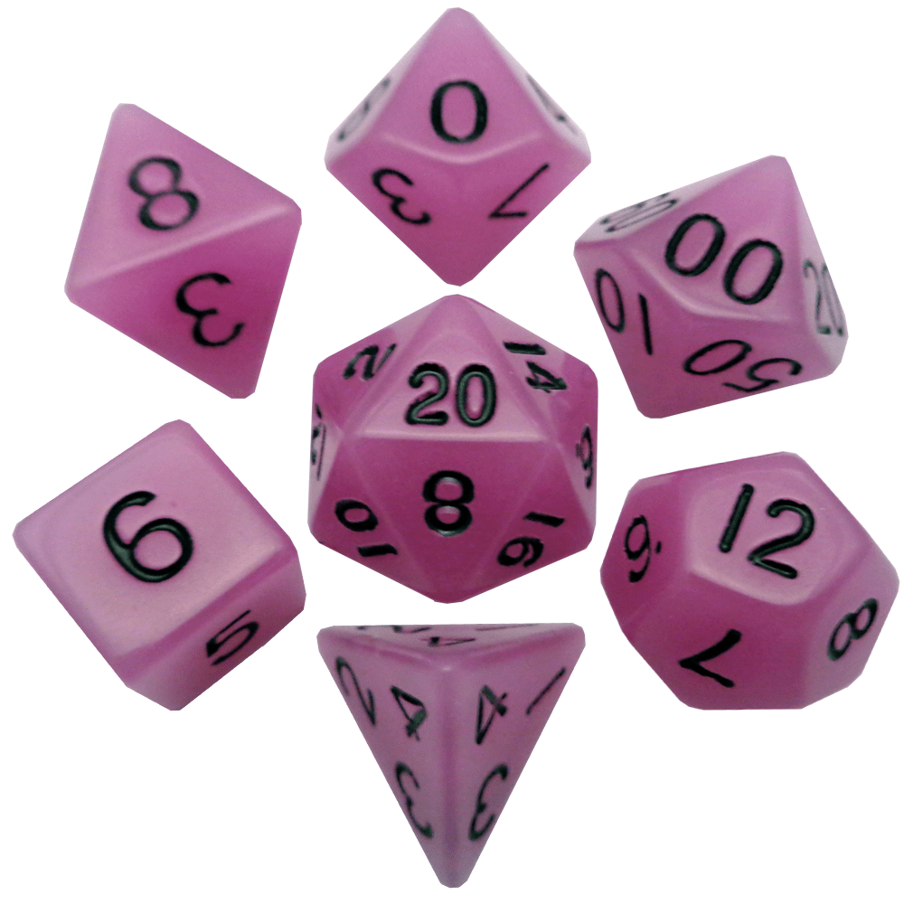 Glow in the Dark Purple 16mm Polyhedral Dice Set