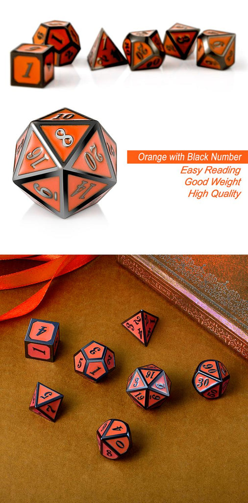 Metal & Enamel Dice Set (7pcs) [Orange & Gunmetal]