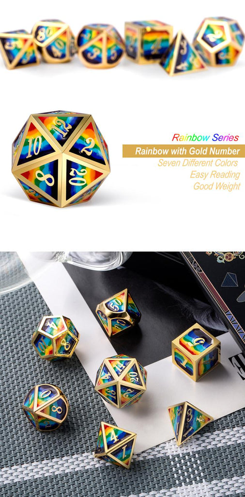 Metal & Enamel Dice Set (7pcs) [Rainbow]